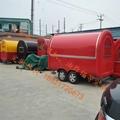 orange mobile food trailer dual axles