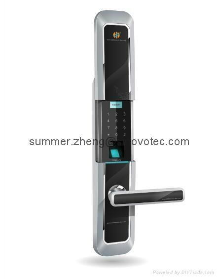 Sliding cover keyless keypad fingerprint entry deadbolt handle door lock 1