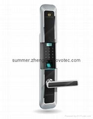 Sliding cover keyless keypad fingerprint entry deadbolt handle door lock