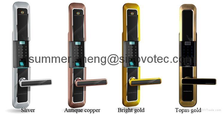 Sliding cover keyless keypad fingerprint entry deadbolt handle door lock 2