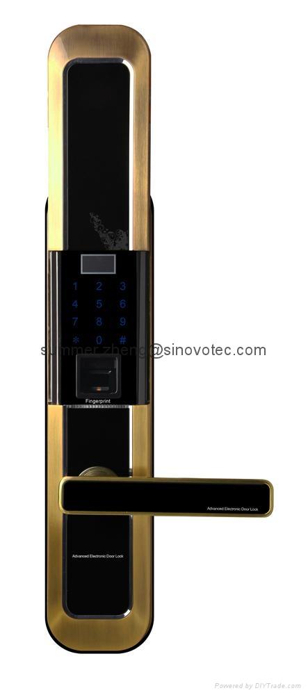 Sliding cover keyless keypad fingerprint entry deadbolt handle door lock 3
