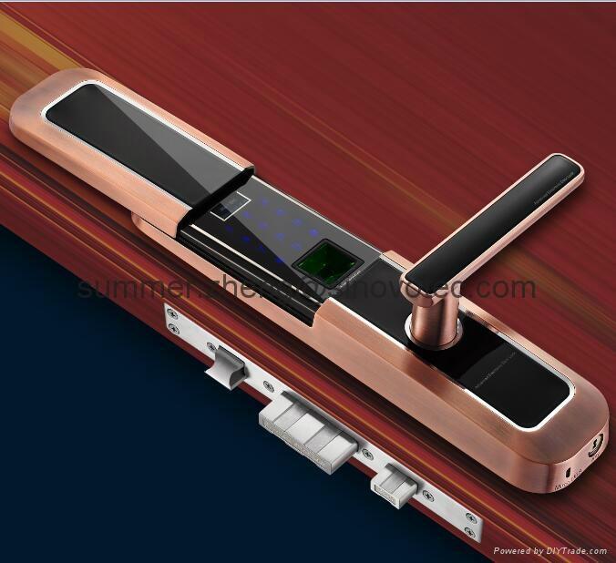Sliding cover keyless keypad fingerprint entry deadbolt handle door lock 4