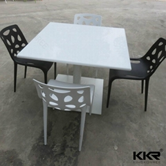 Pure white solid surface dining table