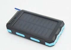 waterproof solar portable charger compass LED torch light  power bank