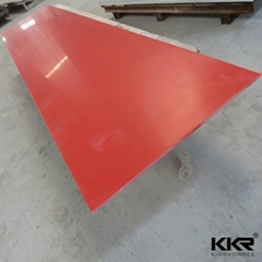 Red color artificial stone acrylic solid surface slab for counter top