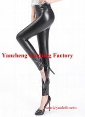 High waist faux leather fleece lined winter leggings black pu coated pants