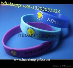 No Minimum Custom Debossed and Ink Filled 1 Inch Silicone Wristband