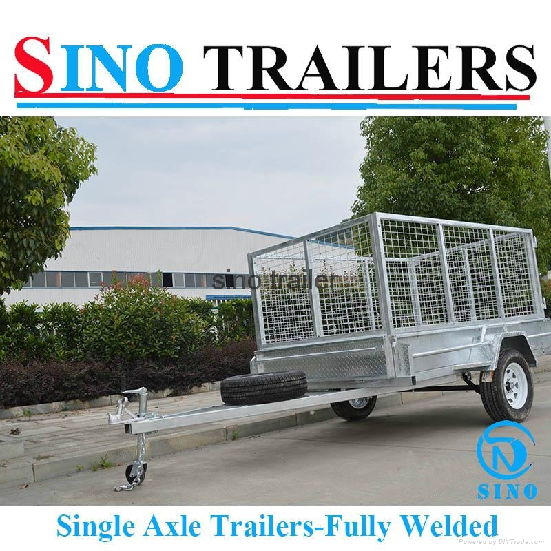Australian Market Fully Welded Single Axle Box Trailer with Cage 1