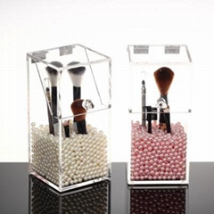 Customized acrylic cosmetic boxes brush holder