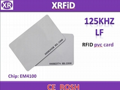 RFID PVC Card 125khz tk4100 rfid card.Blank color with or without Number print