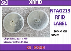 ISO14443A RFID PASSIVE LABEL 13.56MHZ NTAG213 CHIP.BLANK RFID LABEL 25MM OR 30MM
