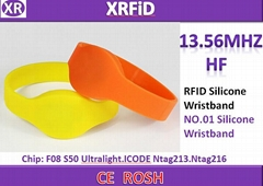 RFID wristband with F08 chip ISO14443A RFID bracelet 13.56mhz Rfid wristband 65m