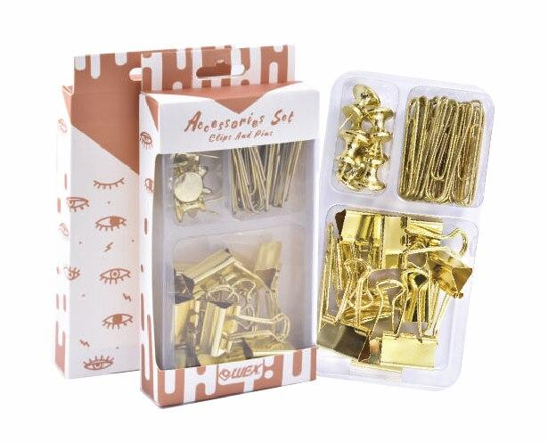 Rose Plated Binder Clips Paper Clips Accessory Set Promotion Gift 3