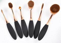 2016 fasihonable 6pcs Oval rose gold makeup foundation brush set