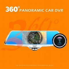 5 inch 360 car rearview mirror camera driver recorder DV-H2 hd1080P car dvr came