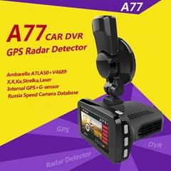 Ambarella LA750 FHD 1080P Manual Car Camera HD DVR A77 GPS Radar Detector 3 in 1