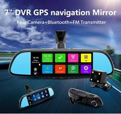 7.0 inch Android 4.4 system rearview mirror Bluetooth gps navigation dual camera