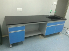university lab equipment, laboratory workbench, metal workbench