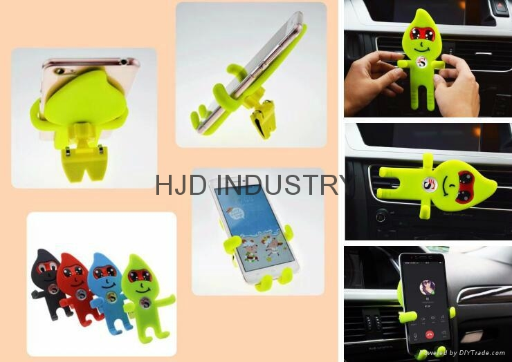 Cartoon Silicone Car Air Vent Phone Mount Holder for iPhone 7 plus Note 7 Car St 3