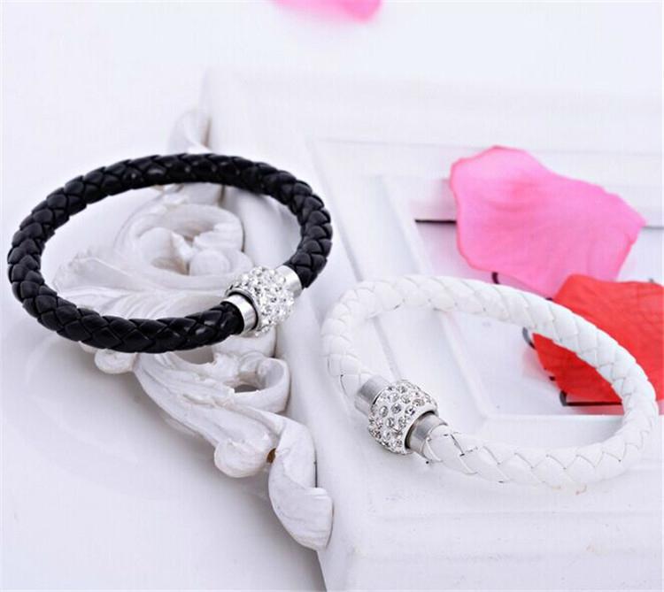 Hot Sale PU Bracelet Fashion Men And Women Woven Leather Bracelet Diamond Bead   1