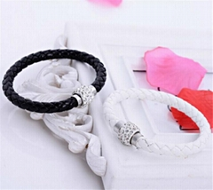 Hot Sale PU Bracelet Fashion Men And Women Woven Leather Bracelet Diamond Bead