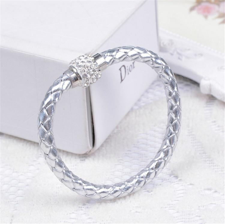 Hot Sale PU Bracelet Fashion Men And Women Woven Leather Bracelet Diamond Bead   3