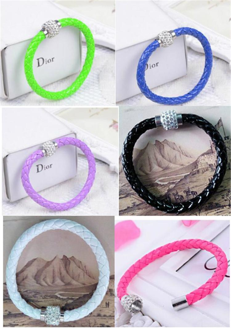 Hot Sale PU Bracelet Fashion Men And Women Woven Leather Bracelet Diamond Bead   4