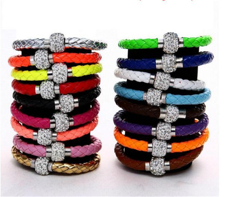 Hot Sale PU Bracelet Fashion Men And Women Woven Leather Bracelet Diamond Bead   5