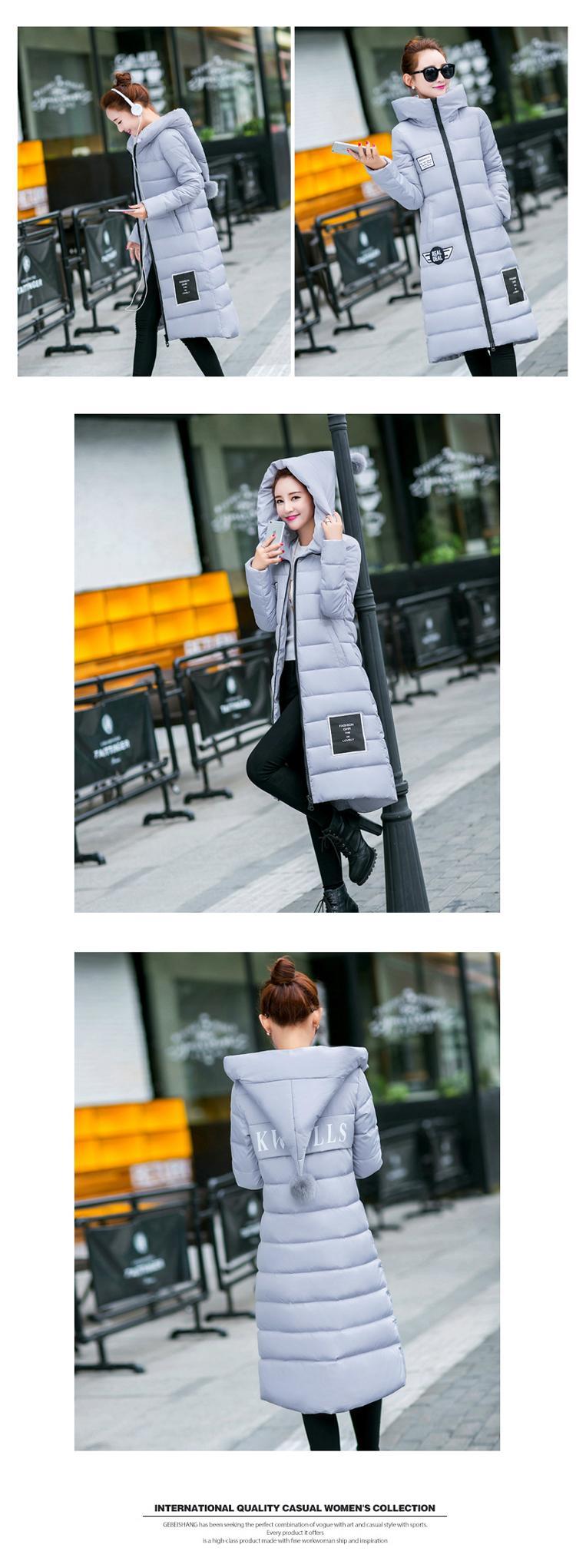 大碼連帽收腰修身棉衣女中長款韓版女裝加厚冬季外套 3