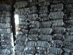 Hardwood charcoal lumps and briquuettes