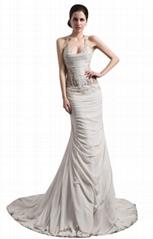 Chiffon Mermaid Backless Strapless Trumpet Wedding Dress