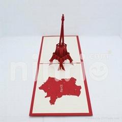 Eiffel tower pop up card handmade greeting card