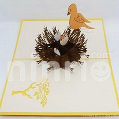 Bird nest pop up card handmade greeting card