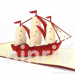 Sailing boat pop up card handmade greeting card