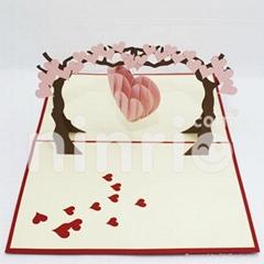 Love tree pop up card handmade greeting card