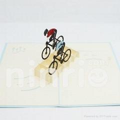 Cyclist pop up card handmade greeting card