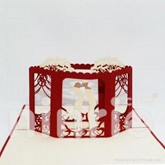 Wedding cube pop up card handmade greeting card