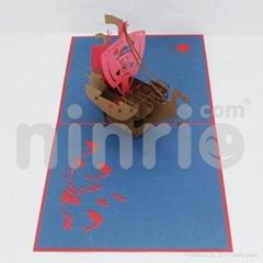 Viking ship pop up card handmade greeting card