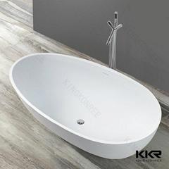 Kingkonree white free standing solid stone resin bathtub