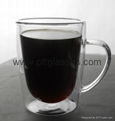 portable borosilicate double wall glass mugs