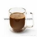 High borosilicate glass double wall mug