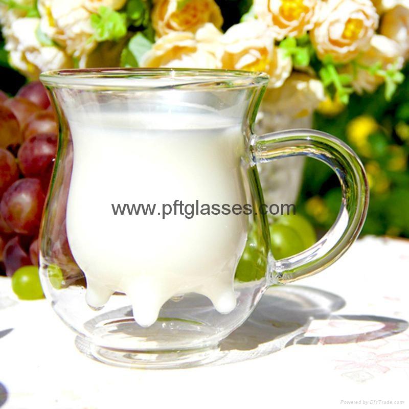 Nice Double Wall Glass milk Mug  1