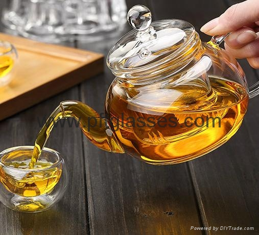 Wholesales hand blown single wall teapots with tea infuser  1