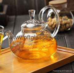 Heat Resistant Double Wall Borosilicate Glass Tea Pot Coffee Pot