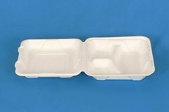 8*8*3 sugarcane bagasse moulded pulp biodegradable lunch box with 3 compartments