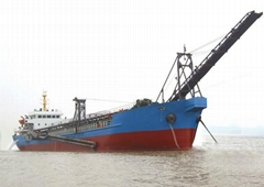 Self unloading barge for sand or coal
