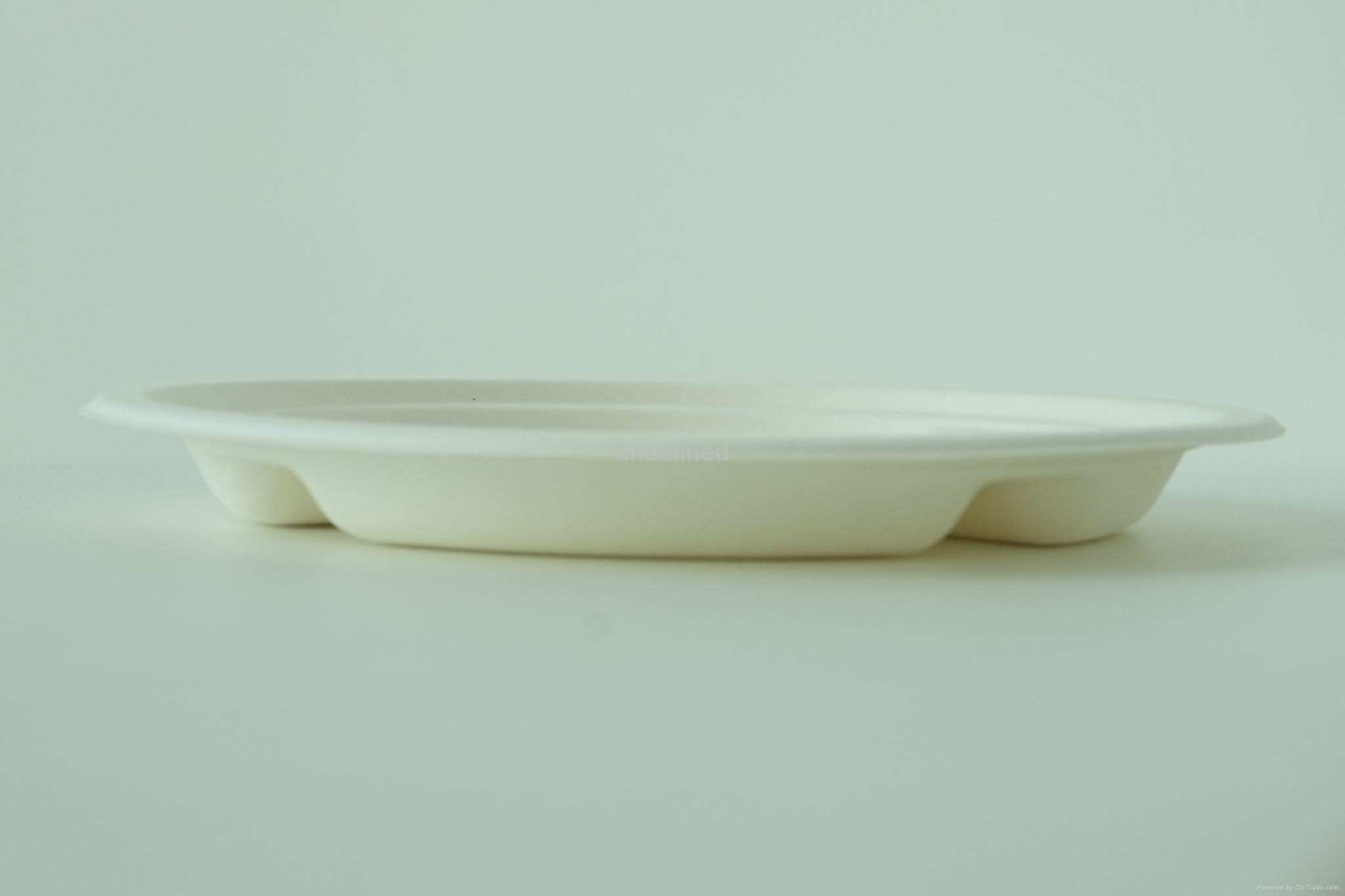 "Biodegradable Paper Pulp Sugarcane Bagasse Tableware 3Compartment Plate10"" 4"