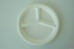 Biodegradable Paper Pulp Sugarcane Bagasse Tableware 3Compartment Plate10""