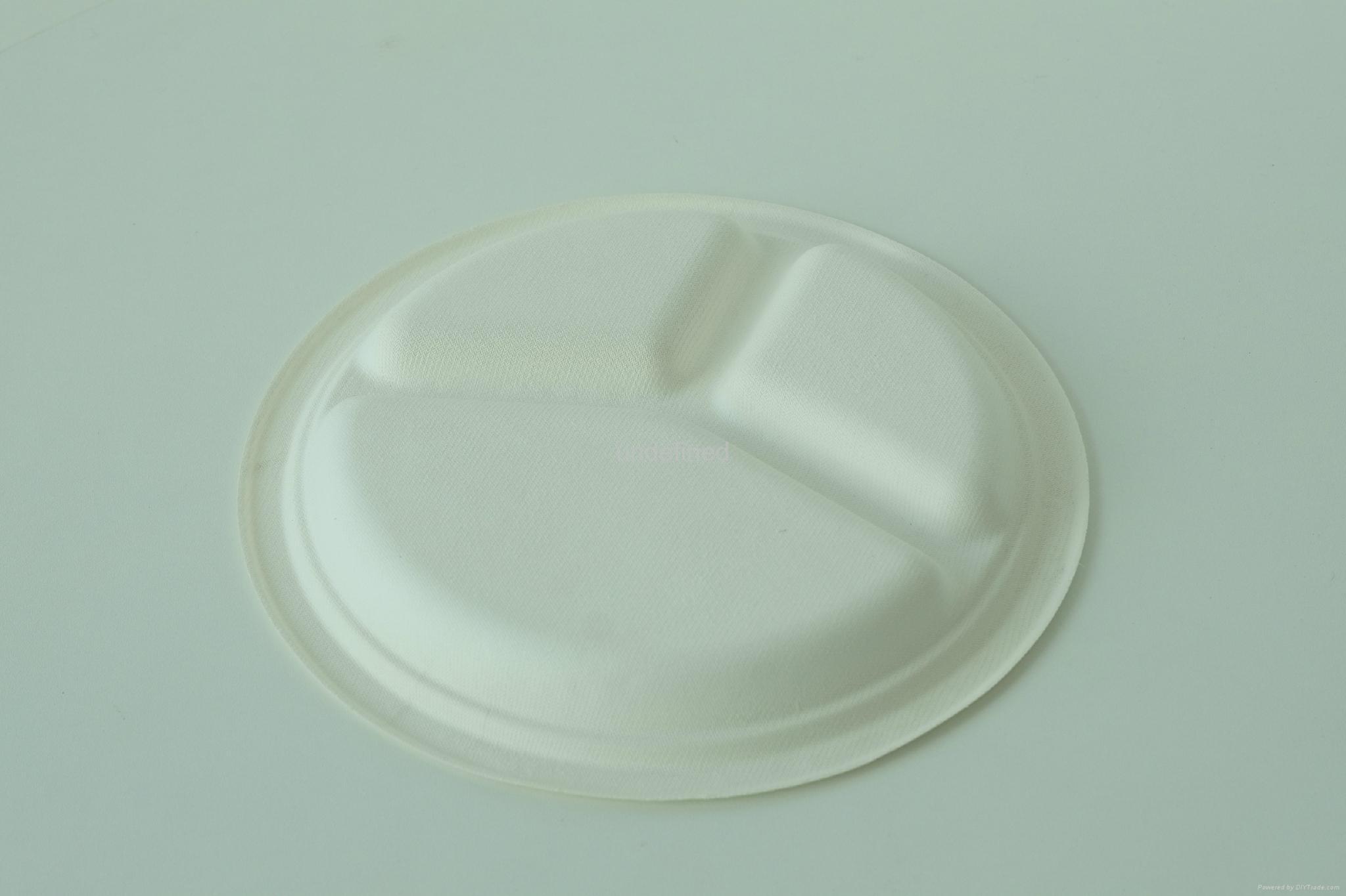 "Biodegradable Paper Pulp Sugarcane Bagasse Tableware 3Compartment Plate10"" 3"