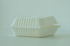 Disposable compostable bagasse clamshell 6""